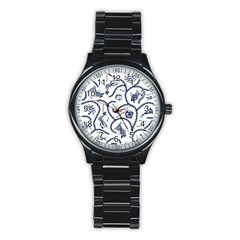Fish Pattern Stainless Steel Round Watch