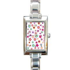 Colorful Floral Flowers Pattern Rectangle Italian Charm Watch