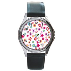 Colorful Floral Flowers Pattern Round Metal Watch