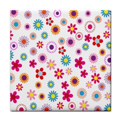Colorful Floral Flowers Pattern Tile Coasters