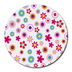 Colorful Floral Flowers Pattern Round Mousepads