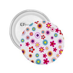 Colorful Floral Flowers Pattern 2.25  Buttons
