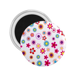 Colorful Floral Flowers Pattern 2.25  Magnets