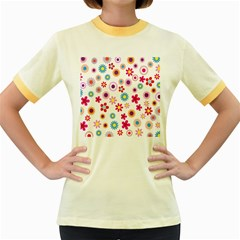 Colorful Floral Flowers Pattern Women s Fitted Ringer T-Shirts