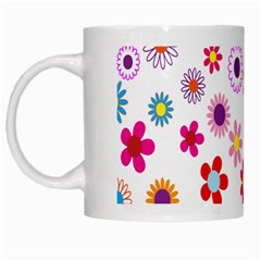 Colorful Floral Flowers Pattern White Mugs