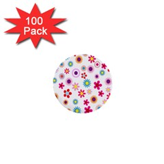 Colorful Floral Flowers Pattern 1  Mini Buttons (100 Pack)