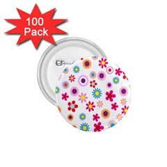 Colorful Floral Flowers Pattern 1.75  Buttons (100 pack)