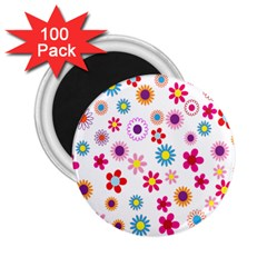Colorful Floral Flowers Pattern 2 25  Magnets (100 Pack)