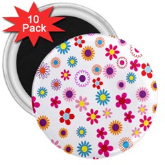 Colorful Floral Flowers Pattern 3  Magnets (10 Pack)