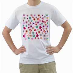 Colorful Floral Flowers Pattern Men s T-Shirt (White) (Two Sided)