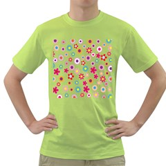 Colorful Floral Flowers Pattern Green T Shirt