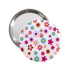 Colorful Floral Flowers Pattern 2.25  Handbag Mirrors