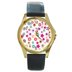 Colorful Floral Flowers Pattern Round Gold Metal Watch
