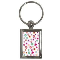 Colorful Floral Flowers Pattern Key Chains (Rectangle)