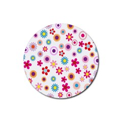 Colorful Floral Flowers Pattern Rubber Round Coaster (4 Pack)