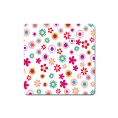 Colorful Floral Flowers Pattern Square Magnet