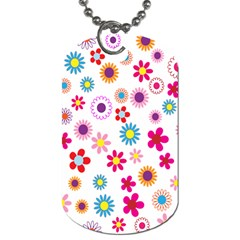 Colorful Floral Flowers Pattern Dog Tag (Two Sides)