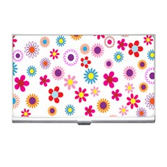 Colorful Floral Flowers Pattern Business Card Holders
