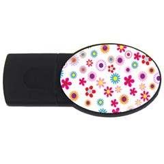 Colorful Floral Flowers Pattern Usb Flash Drive Oval (2 Gb)