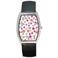 Colorful Floral Flowers Pattern Barrel Style Metal Watch