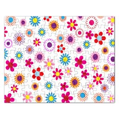 Colorful Floral Flowers Pattern Rectangular Jigsaw Puzzl
