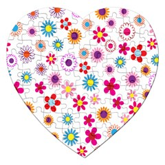 Colorful Floral Flowers Pattern Jigsaw Puzzle (Heart)