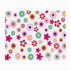 Colorful Floral Flowers Pattern Small Glasses Cloth