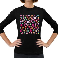 Colorful Floral Flowers Pattern Women s Long Sleeve Dark T-Shirts