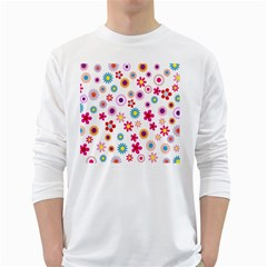 Colorful Floral Flowers Pattern White Long Sleeve T-Shirts