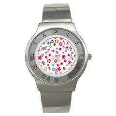 Colorful Floral Flowers Pattern Stainless Steel Watch