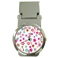 Colorful Floral Flowers Pattern Money Clip Watches