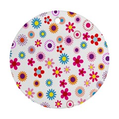Colorful Floral Flowers Pattern Round Ornament (Two Sides)