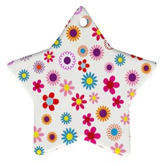 Colorful Floral Flowers Pattern Star Ornament (two Sides)