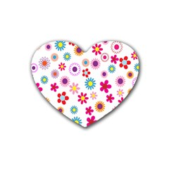 Colorful Floral Flowers Pattern Rubber Coaster (Heart)