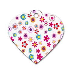 Colorful Floral Flowers Pattern Dog Tag Heart (Two Sides)