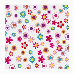 Colorful Floral Flowers Pattern Medium Glasses Cloth (2-Side)
