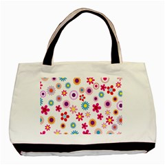 Colorful Floral Flowers Pattern Basic Tote Bag (Two Sides)