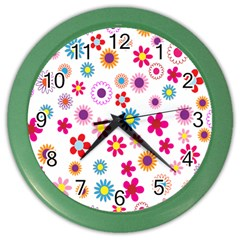 Colorful Floral Flowers Pattern Color Wall Clocks