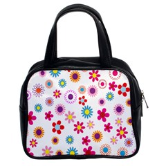 Colorful Floral Flowers Pattern Classic Handbags (2 Sides)