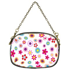 Colorful Floral Flowers Pattern Chain Purses (one Side)