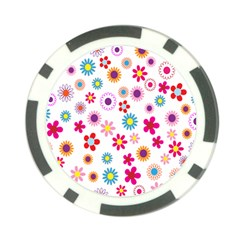 Colorful Floral Flowers Pattern Poker Chip Card Guard (10 Pack)
