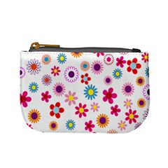 Colorful Floral Flowers Pattern Mini Coin Purses