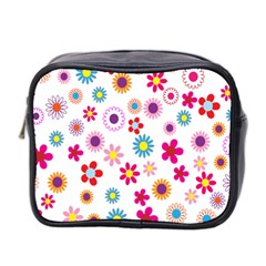 Colorful Floral Flowers Pattern Mini Toiletries Bag 2 Side
