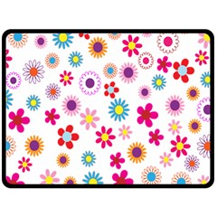 Colorful Floral Flowers Pattern Fleece Blanket (large)