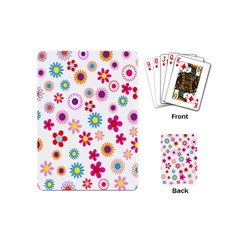 Colorful Floral Flowers Pattern Playing Cards (Mini)