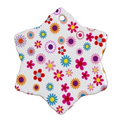 Colorful Floral Flowers Pattern Snowflake Ornament (Two Sides)