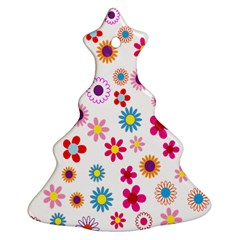 Colorful Floral Flowers Pattern Christmas Tree Ornament (Two Sides)