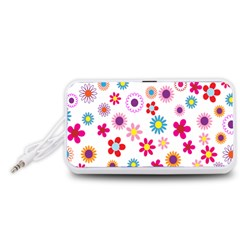 Colorful Floral Flowers Pattern Portable Speaker (White)
