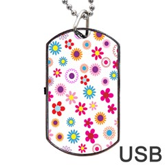 Colorful Floral Flowers Pattern Dog Tag USB Flash (Two Sides)