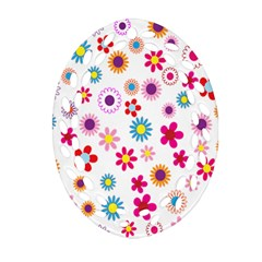 Colorful Floral Flowers Pattern Ornament (Oval Filigree)